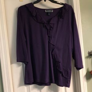 Purple blouse with ruffle